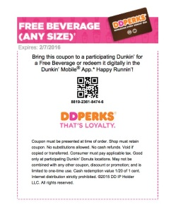 Dunkin' Donuts - Reward Certificate