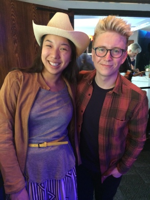 Nicole Fu and Tyler Oakley at the Samusung Blogger Lounge, SXSW 2015