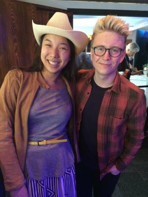 Nicole Fu and Tyler Oakley at the Samusung Blogger Lounge, SXSW 2015
