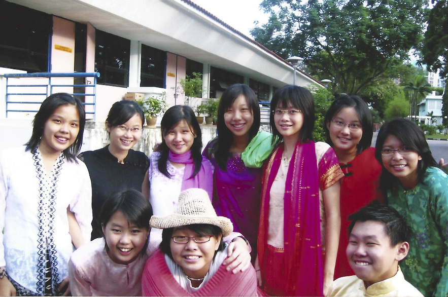 Nicole Fu and others during Racial Harmony Day at Assumption English School in 2004/5