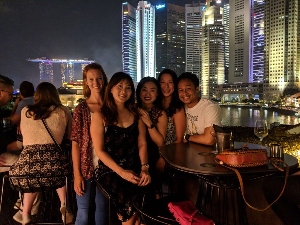 Nicole Fu and friends in Singapore