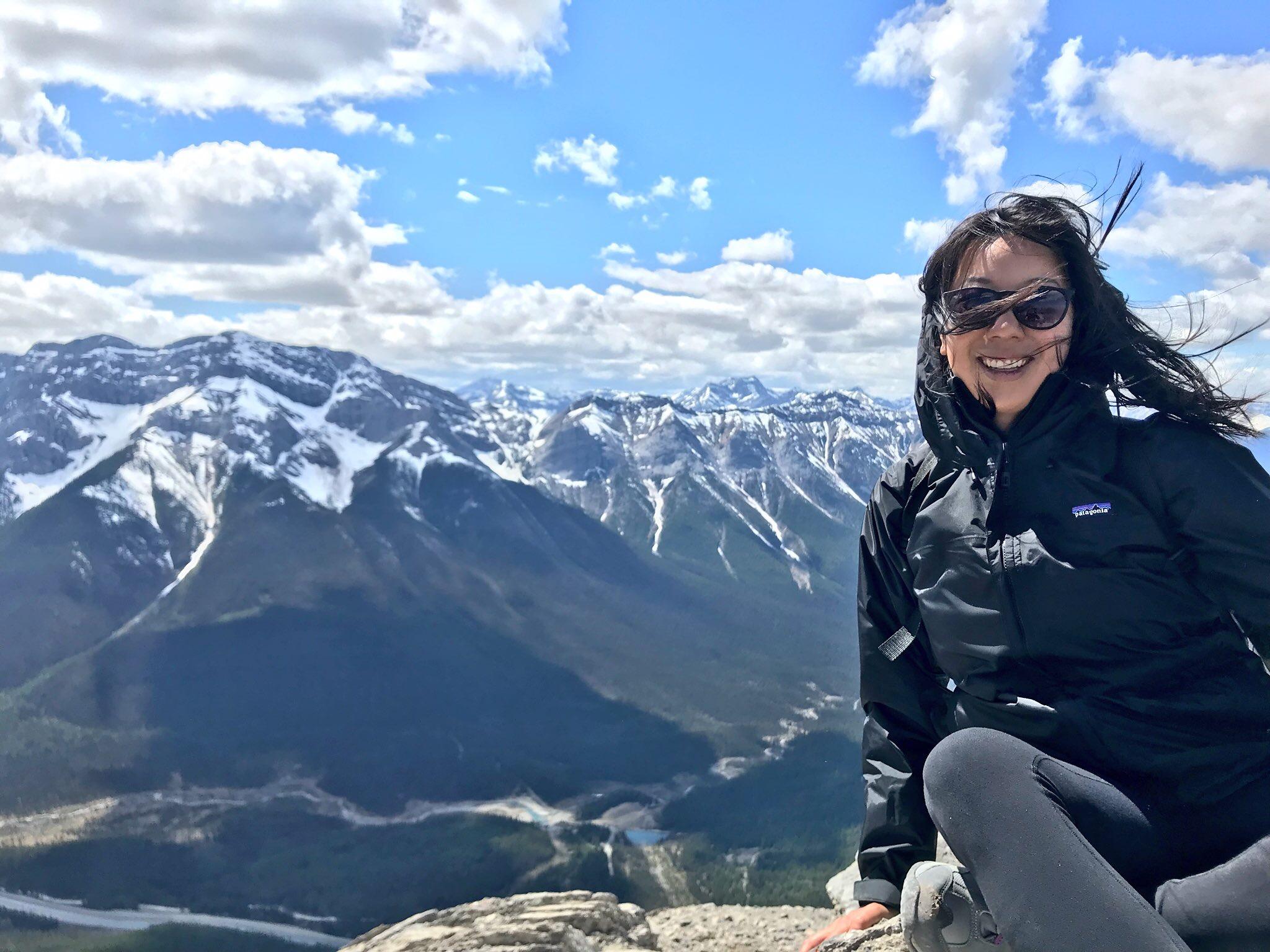 Nicole Fu at Ha Ling Peak, Canmore, Alberta